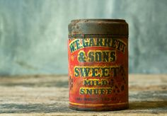Vintage Snuff Tin, WF Garrett & Sons Sweet Mild Snuff Can, Collectible Americana, Fathers Day Gift