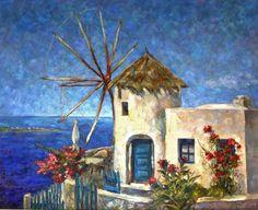 Flower Landscape In Garden Oil Painting On Canvas, Canvas Art, Painting Art, Greece Art, Original Art, Original Paintings, Old Windmills, Flower Landscape, Sky Landscape