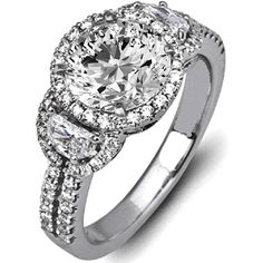 Engagement Ring - Round Diamond Halo Engagement Ring Half Moon Side... ($2,750) ❤ liked on Polyvore