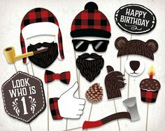 Lumberjack first birthday photo booth props : printable PDF. Lumberjack party printables. Lumberjack baby shower props. Party supplies. par HatAcrobat sur Etsy https://www.etsy.com/ca-fr/listing/275032690/lumberjack-first-birthday-photo-booth