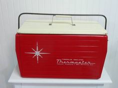 NICE ATOMIC 1950s Metal Cooler, Poloron Thermaster, Red and White Insulated Ice Chest Cooler, Starburst Sunburst $125