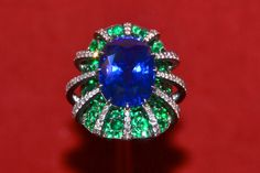 JAR Ring, 2012 ~ Sapphire, emeralds, diamonds, silver, platinum, gold. Private collection ~ Photo courtesy of What We Like NYC
