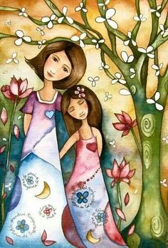 Mother and Daughter in the Forest - whimsical folk art print by Claudia Tremblay Art Et Illustration, Illustrations, Claudia Tremblay, Art Fantaisiste, Art Populaire, Inspiration Art, Mother And Child, Mother Mother, Mothers Love