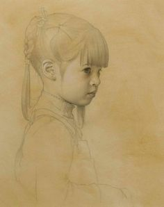 """""""Abigail Rose"""" (Portrait of the Artist's Daughter) Pencil & White Charcoal on Toned Paper - 20"""" x 16"""" Collection of Karen McCormack"""
