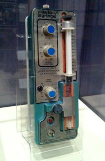 One of the first insulin pumps.  It plugged into the wall!