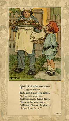 """Simple Simon met a pieman..."" illustration by Clara M. Burd for her book 'Mother Goose and Her Goslings', c. 1912-18. Courtesy The Texas Collection, Baylor University."