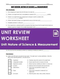 This is a unit overview and key words document for a middle school unit on the nature of science and measurement. I typically hand out this document to students at the beginning of the unit to clarify what content will be covered and what students are expected to learn, to understand, and to perform. Contents: - Enduring Understandings - Essential Questions - Skills - Key Vocabulary Terms (in order