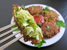 A fantastically fun way to get your vegetables. Shredded and seasoned zucchini are briefly fried to make delicious fritters perfect for dipping in marinara. Veggie Recipes, Vegetarian Recipes, Dinner Recipes, Cooking Recipes, Healthy Recipes, Veggie Meals, Entree Recipes, Vegetable Dishes, Clean Recipes