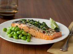 Honey Soy Grilled Salmon with Edamame - Quick & Light