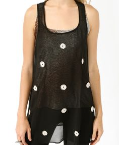 Sheer Crochet Appliqué Tank | FOREVER21 - 2000045693