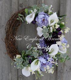 Easter Wreath Spring Door Décor Floral Wreath by NewEnglandWreath, $159.00