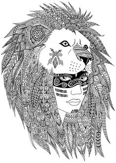 A leader of a native american tribe maked with heart and Zentangles., From the gallery : Zentangle, Artist : Sabrina