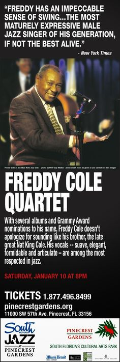 Freddy Cole to Perform this Weekend at South Motors Jazz Series at Pinecrest Gardens!