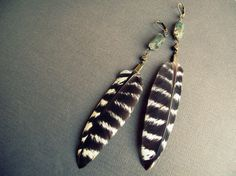 Tribal Feather Earrings - Crystal and Feather Earrings Green Lodolite Raw Quartz Crystals Striped Brown White Feathers Hippie Bohemian Gypsy