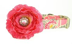 Dog Collar and Flower Set, Pink and Gray Flower Dog Collar, Hot Pink Rhinestone Dog Collar Flower: Blushing Poppy on Etsy, $29.00