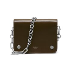 Shop the Clifton bag in Moss Crossboarded Calf at Mulberry.com. For the Winter collection the Clifton gets a punk-rock edge with chain detailing inspired by vintage jewellery. The compact Clifton silhouette camouflages an organiser's paradise under its neat, chic exterior, with different slip and zip pockets.