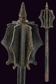 A war-mace, Germany, 16th century.  Welded, forged as one piece, or cast?  Looks contiguous to the shaft so... ??