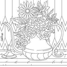 Teapot With Flowers Free Colouring Sample Coloring Apps, Free Coloring, Coloring Books, Blank Coloring Pages, Pattern Coloring Pages, Seed Bead Art, Printable Coloring Sheets, Stress, Easy Christmas Crafts