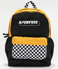 Carry all your things in fashion-forward style with the Vans Sporty Realm Plus Black and Yellow Checkerboard Backpack. Featured with contrasting black and white checkerboard print detailing, this striking accessory elevates any look with a touch of street Tumblr Backpack, Vans Backpack, Black Backpack, Vans School Bags, Vans Bags, Skate Backpacks, Cool Backpacks, College Backpacks, Teen Backpacks