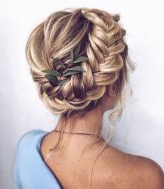 42 Gorgeous Wedding Hairstyles Ideas to Inspire Your Wedding Day---Updo wedding hairstyles with bold braids greenery and tresses, elegant wedding theme, boho wedding ideas, wedding hair accessories