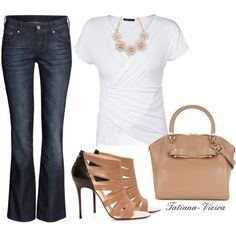 A fashion look from July 2014 featuring Violeta by Mango t-shirts, H&M jeans and Christian Louboutin sandals. Browse and shop related looks.