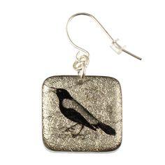"4235-10 - 1/2"" Square Black and Silver Bird Earring originjewelry.net"