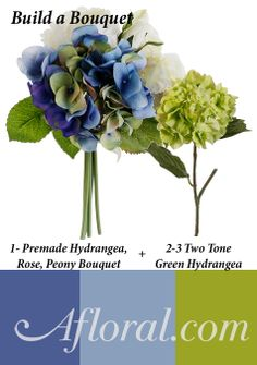 Blue and Green Hydrangea Bouquet Ideas; #afloral #hydrangeabouquet