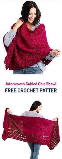 Interwoven Cabled Chic Shawl Free Crochet Pattern  #crochet #crocheting #crocheted #yarn #handmade #crafts