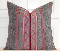 Hmong Pillow Cover - Tribal Decorative Pillow Cover - Pink Orange Embroidery Accent Pillow - Toss Pillow - Navy Backing - Hill Tribe Fabric by TurquoiseTumbleweed on Etsy https://www.etsy.com/listing/453606756/hmong-pillow-cover-tribal-decorative
