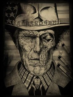 Tattoo idea. Tattoo. Dark colors. Skull. Cigarette. Man.