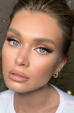 Nude Makeup, No Eyeliner Makeup, Blue Eye Makeup, Cat Eye Makeup, Makeup Looks Blue Eyes, Blue Dress Makeup, Color Eyeliner, Thin Eyeliner, Neutral Eye Makeup