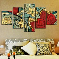 Multi Canvas Painting, Diy Canvas Art, Diy Wall Art, Canvas Art Prints, Canvas Wall Art, Wall Art Sets, Mandala Art Lesson, Mandala Drawing, Pintura Zen