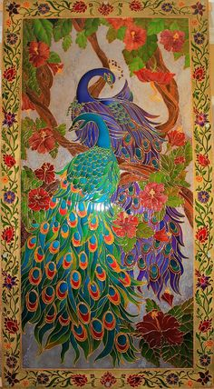 Anna Aleshintseva | VK Peacock Painting, Peacock Art, Mirror Painting, Mirror Art, Mural Painting, Ceramic Painting, Fabric Painting, Paintings, Glass Painting Designs