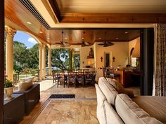 Outdoor living. yes please. I like the concept- reminds me of wanting an outdoor/indoor house b/c of the Ranchero house in the original movie The Parent Trap