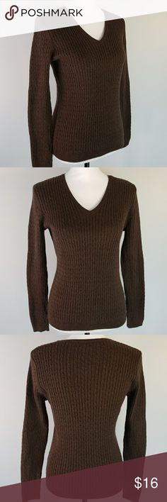 Jeanne Pierre cotton & nylon cable knit sweater Dark chocolate brown cable knit pull over v-neck sweater 90% cotton 10% nylon. In excellent condition. Bust 36  Back length 22 Jeanne Pierre Sweaters V-Necks
