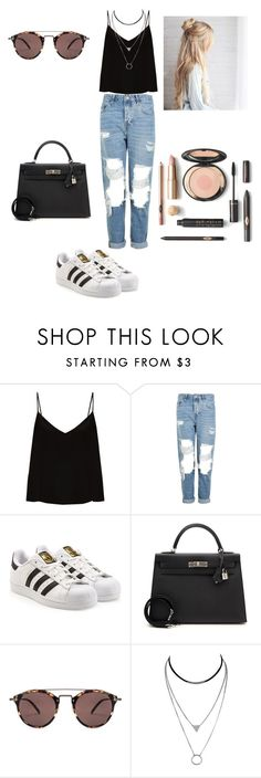 """""""Black"""" by guilledelgado ❤ liked on Polyvore featuring Raey, Topshop, adidas, Hermès and Oliver Peoples"""