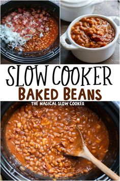 Simple Baked Beans Recipe, Baked Beans Crock Pot, Slow Cooker Baked Beans, Baked Bean Recipes, Crock Pot Slow Cooker, Crock Pot Cooking, Slow Cooker Recipes, Crockpot Recipes, Cooking Recipes