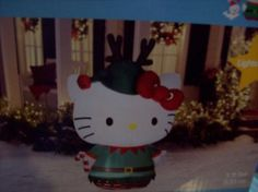 Hello Kitty wearing green elf suit antlers cat airblowm inflatable lights 5'