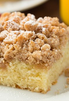 You'll love the generous layer of crisp, buttery, cinnamon laden crumbs atop that pillowy-soft, moist cake that's swirled with notes of vanilla and an ever so light tang from the sour cream...you will love it!!