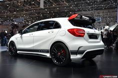 The Mercedes-Benz A 45 AMG Edition 1 is on display at the Geneva Motor Show Live pictures and more inside! Daimler Ag, Daimler Benz, Classe A Amg, Mercedes A45 Amg, Benz Suv, Ford Mustang Car, Mercedez Benz, 4x4, Cool Sports Cars