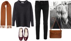 burgundy + rust by trenchcoatandcoffee featuring stretch skinny jeans ❤ liked on Polyvore