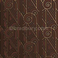 Volute Art Deco Design Wallpaper in Sable | Bradbury & Bradbury