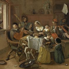 The Merry Family, Jan Havicksz. Steen, 1668 - Rijksmuseum.  'As the old sing, so shall the young twitter.'