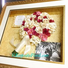 Lovely large shadow box displaying a preserved bridal bouquet, wedding invitation and a black & white photo of the happy couple. #floralpreservation #weddingflowers #wedding #keepsakefloral