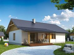 EKO 07 | Projekty rodinných domov | Stavby domov Front Elevation, Modern House Plans, Home Projects, Bungalow, Tiny House, New Homes, Cabin, How To Plan, House Styles