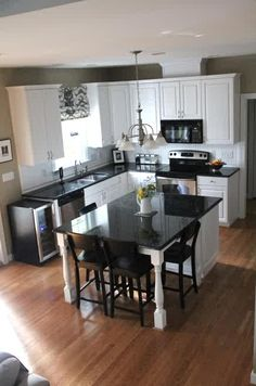 This is stunning.DARK WALL COLOR AND WHITE CABINETS