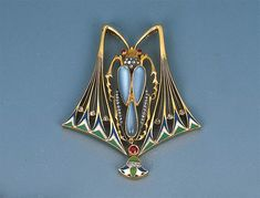 An Art Nouveau Gem-set and Enamel Beetle Pendant