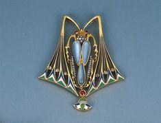An Art Nouveau Gem-set and Enamel Beetle Pendant