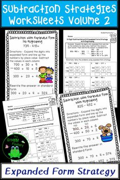 Are you looking for a way to teach subtraction strategies? These subtraction practice worksheets contain 3 digit subtraction using the expanded form subtraction strategy. The guided practice pages and posters are great resources to send home as homework, since the examples at the top show parents how to use the strategy. The independent practice pages can also be used in math stations.