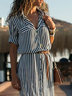 Black-White Half Sleeve Striped Shawl Collar Casual Dresses - Plus Size Casual Dresses - Ideas of Plus Size Casual Dresses - Black-White Half Sleeve Striped Shawl Collar Casual Dresses ZUCHIC Striped Dress Outfit, Black White Striped Dress, White Casual, Dress Outfits, Black White Dresses, Dress Black, Casual Fall, Maxi Shirt Dress, Maxi Dress With Sleeves